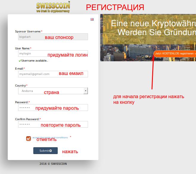 Инструкция по регистрации SWISSCOIN